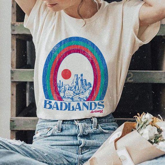 Badlands Tee Womens Graphic Tees Vintage Style 70s 80s T Etsy Womens Graphic Tees Vintage Graphic Tees Women Graphic Tees Vintage