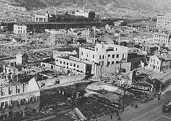 Destroyed buildings in Kobe after a firebombing attack on the city during World War II.