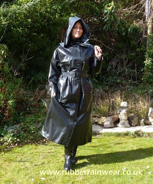 Black Rubber Hooded Raincoat