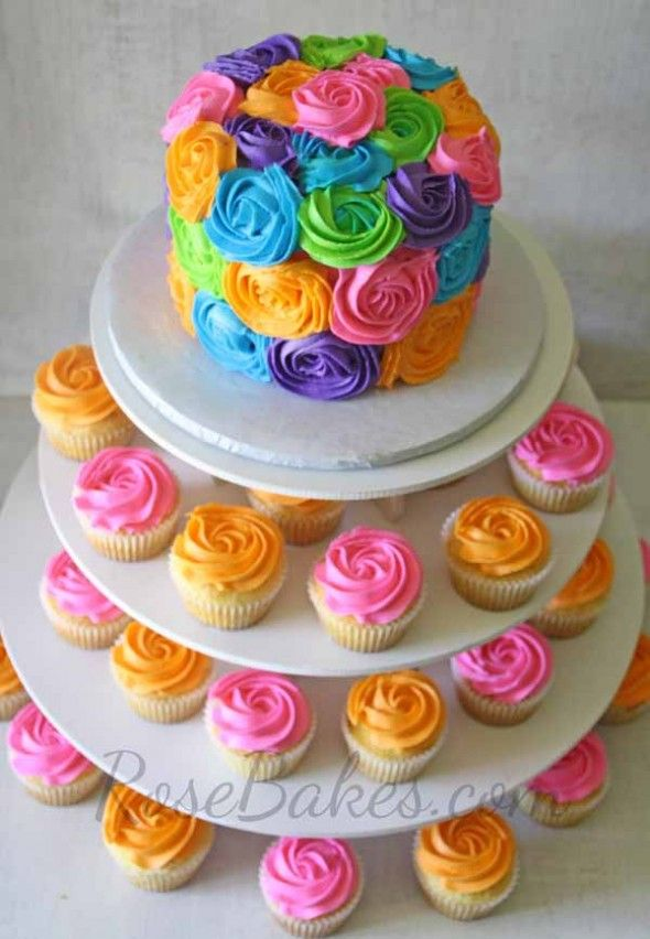 Pink and Orange Bright Roses Cake and Cupcake Tower