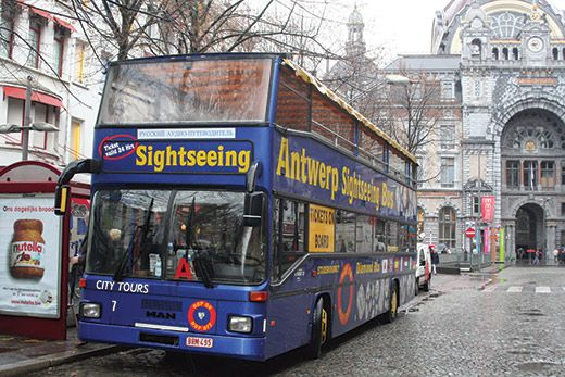 Antwerp City Tour Bus. Available as an image or as a poster