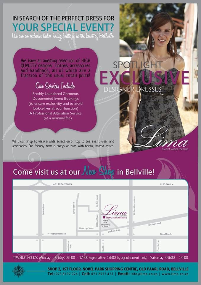 In search of the PERFECT dress for your SPECIAL event? Visit our shop {Shop 2, 1st Floor, Nobel Park Shopping Centre, Old Paarl Road, Bellville} to view a wide selection of top to toe event wear and accessories. Our friendly team is always on hand with helpful, honest advice.