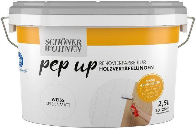 Schoner Wohnen Farbe Renovierfarbe Pep Up Weiss Seidenmatt Fur Holzvertafelungen 2 5 L Farbe Fur Holz Holzvertafelung Schoner Wohnen Farbe Renovieren