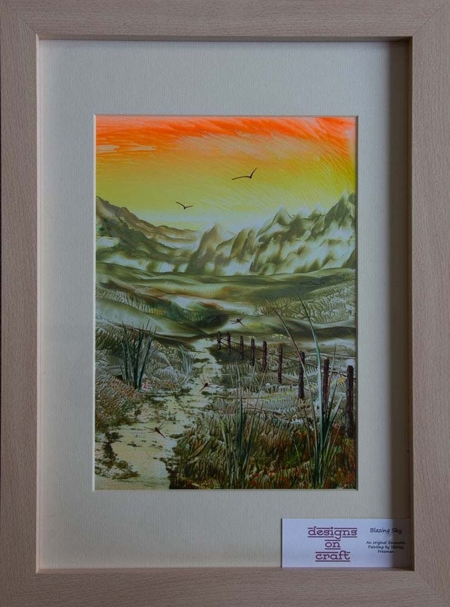 Blazing Sky - Original, Framed Encaustic Art Painting £39.00