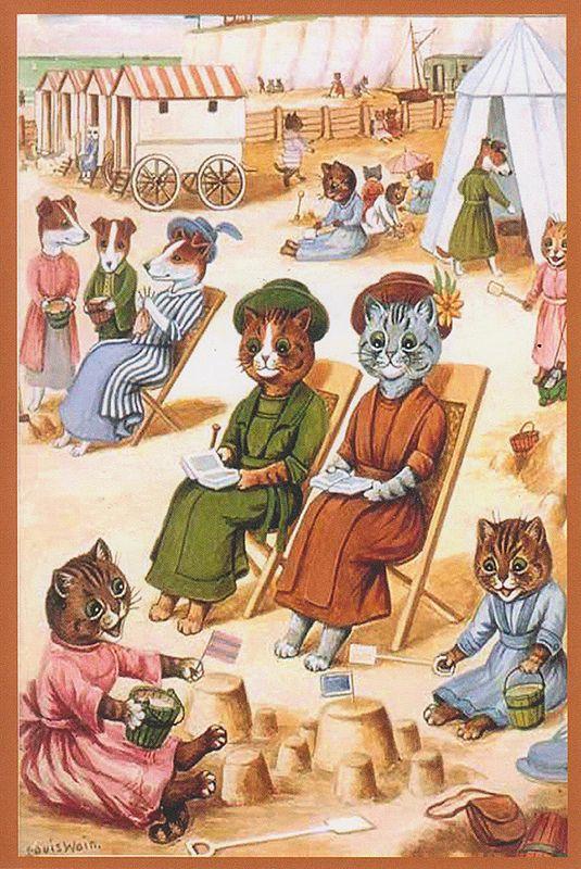 Louis Wain, his Cats at the seashore.