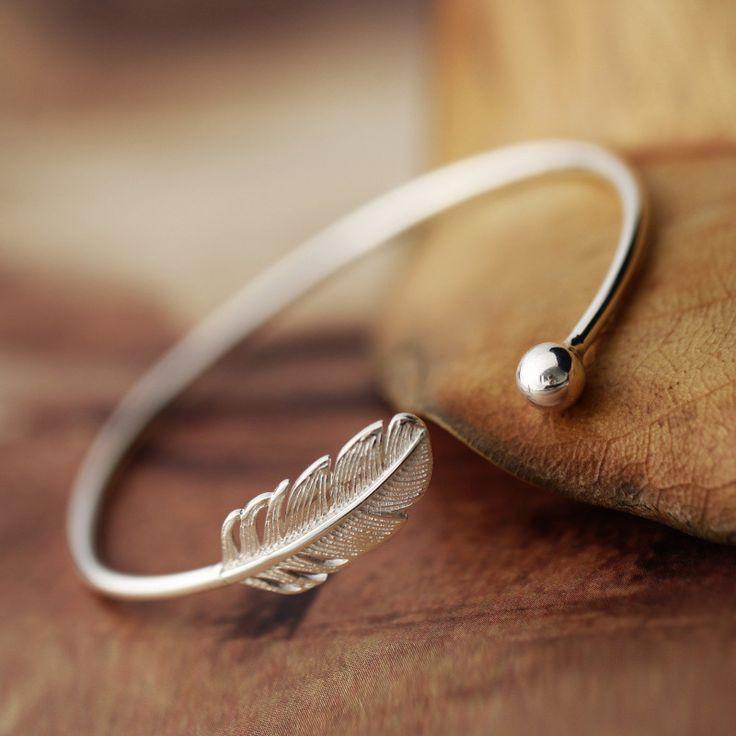 Aliexpress.com: Comprar 925 de la Pluma de Plata esterlina Pulsera Para Las Mujeres Pulseras y Brazaletes de La Nueva Manera de plata joyería de brazalete de la pulsera fiable proveedores en DIEERLAN 925 Store
