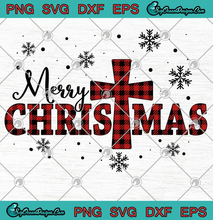 Download Merry Christmas with Cross Plaid Svg Png Eps Dxf ...