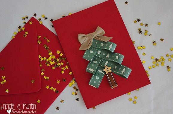Come fare un biglietto di Natale con i nastrini