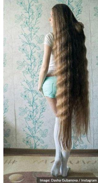 Sexy model Dasha Gubanova with her Rapunzel Style hair...