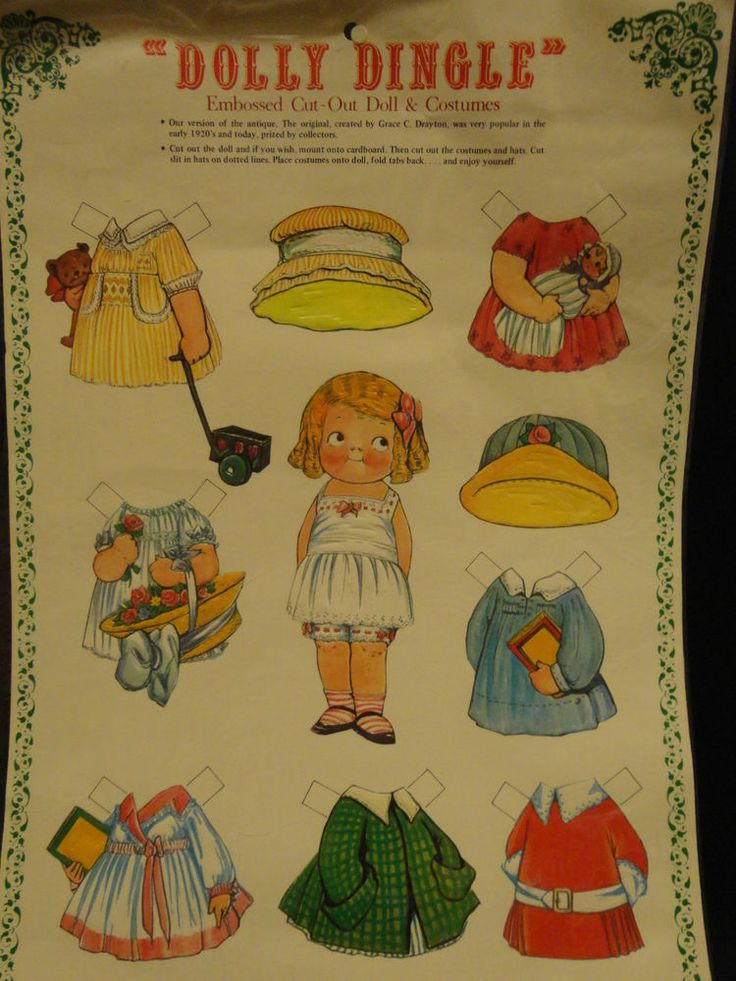 Dolly Dingle Cut Out Christmas Paper Doll & Costumes 1 Sheet UNCUT Merrimack