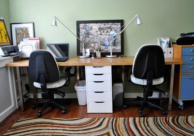 Butcher Block Perfect Double Desk Office Desk Designs Double