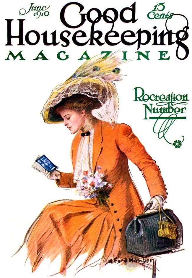 """Good Housekeeping, June 1910.Woman dressed in wonderful orange suit holds overnight bag and examines a railroad schedule, for the """"Recreation Number."""" Artist: R. Ford Harper. """"The only way to be sure of catching a train is to miss the one before it."""" --Gilbert K. Chesterton"""