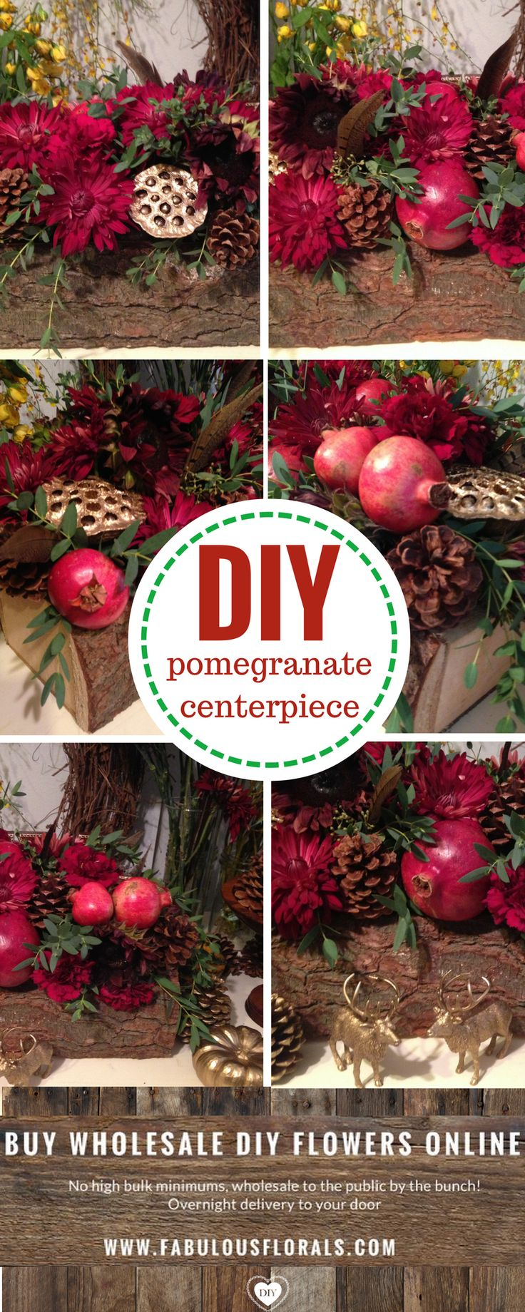 Holiday arrangements wholesale bulk flowers fiftyflowers - Diy Holiday Pomegranate Centerpiece 2017 Christmas Flower Trends Www Fabulousflorals Com The