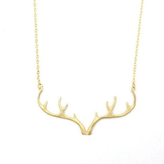 Gold Antler Necklace