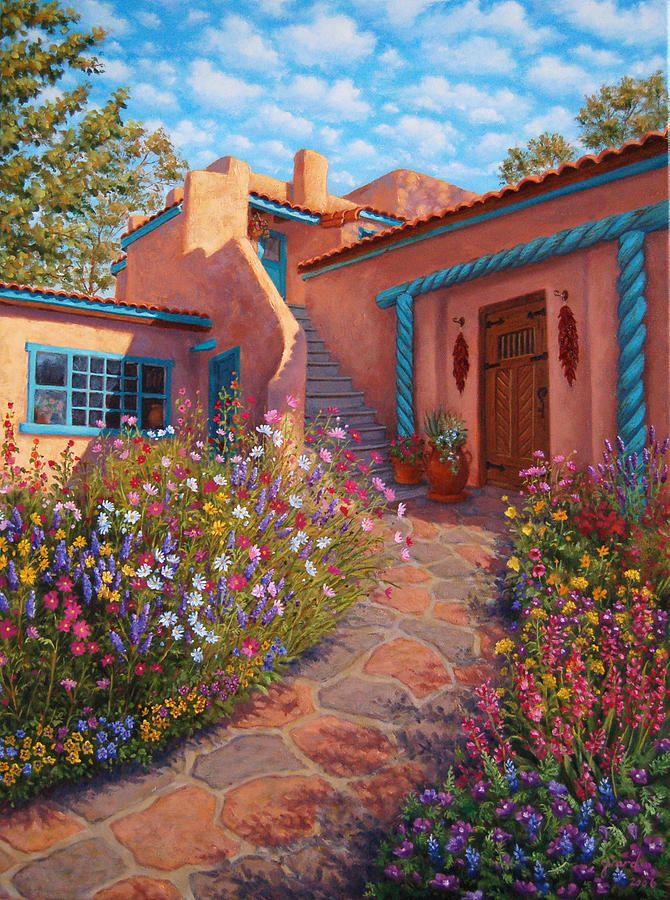 Pintura retratando um jardim em residência típica de adobe encontrada no Novo México, USA.