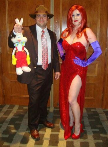 LOVE this for a Couple Costume. Jessica Rabbit and Eddie Valiant with Roger Rabbit