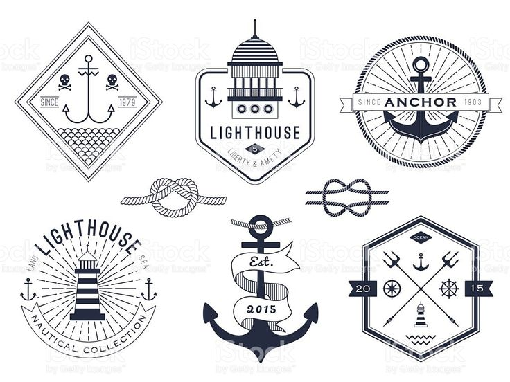 Set of nautical pictures and badges on a white background royalty-free stock vector art