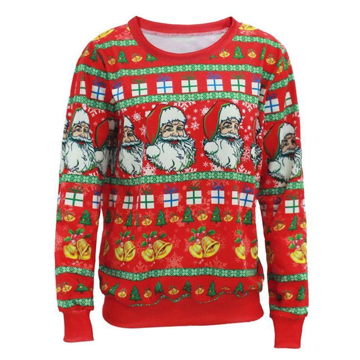 추악한 크리스마스 스웨터 남성 여성 산타 클로스 X 마스 트리 순록 패턴 스웨터 새로운 중간 긴 스웨터 인쇄 스웨터 A2