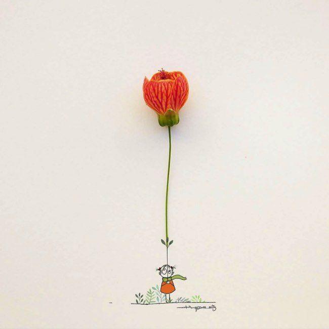 En illustration utiliser des objets du quotidien pour compléter ses dessins n'est pas quelque chose de nouveau mais le faire avec talent est toujours aussi inspirant.   Illustrations en fleur Alors certains artistes utilisent feuilles, fleurs comme Tang Chiew Ling et encre de chine, d'autres com