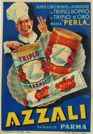 Azzali Parma original Italian food poster from 1940 by Emka. Super Concentrato Di Pomodoro in Triplo. Vintage advertisement for tomato paste and canned tomatoes.