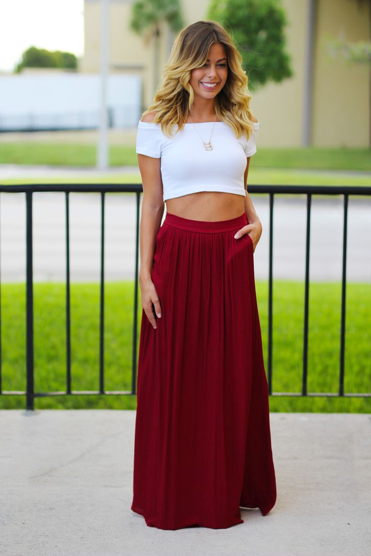 Best 25  Burgundy maxi skirts ideas on Pinterest | Tops for long ...
