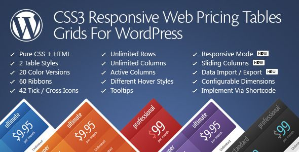 CSS3 Responsive Web Pricing Tables Grids For WordPress