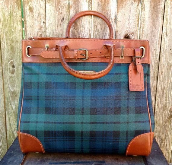 80s Polo Ralph Lauren Black Watch Tote Bag / Ralph Lauren Tartan / Plaid Birkin Bag