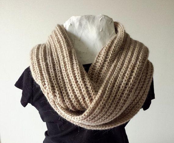 Infinity Scarf Beige Oatmeal Hand Knit Wheat by SophiesKnitStuff