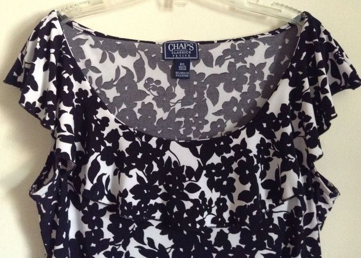 Chaps Ralph Lauren Womens Black/White floral Top scoopneck s/s petite Large #Chaps #Careertop #Career