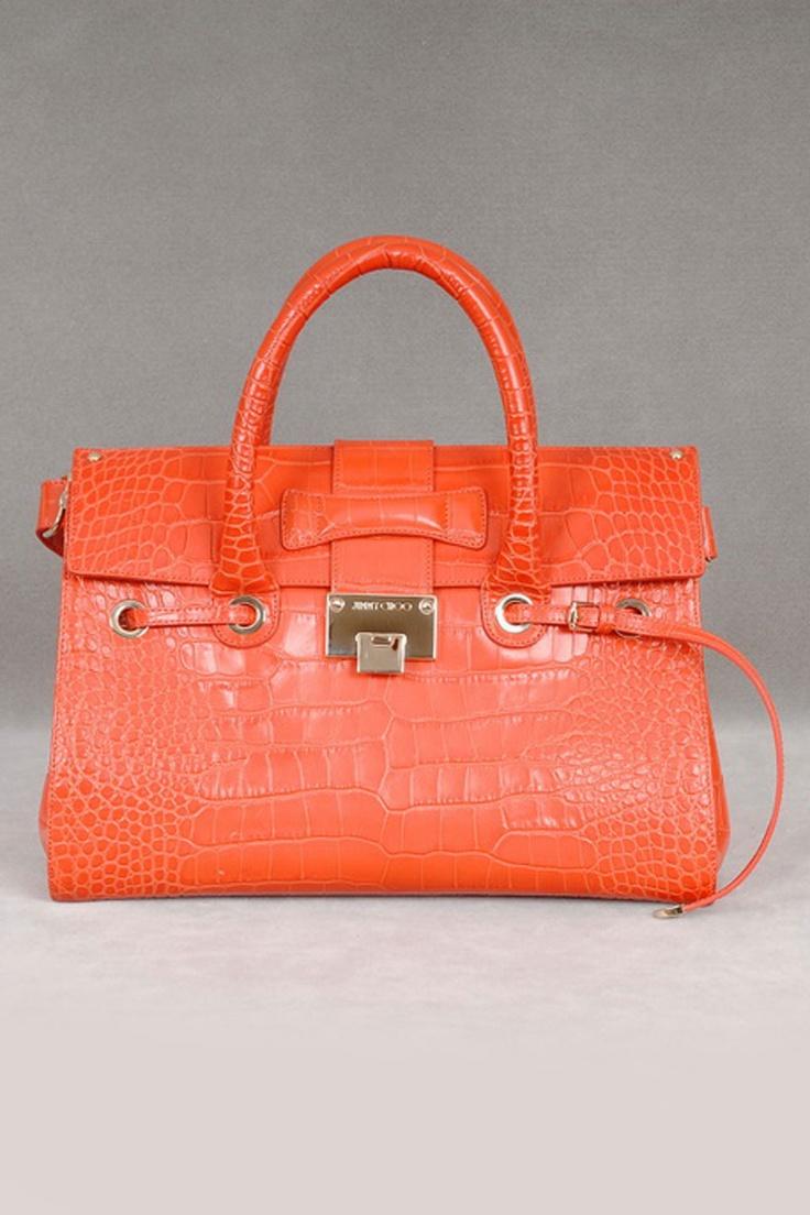 Jimmy Choo Croc Embossed Rosalie Handbag In Coral