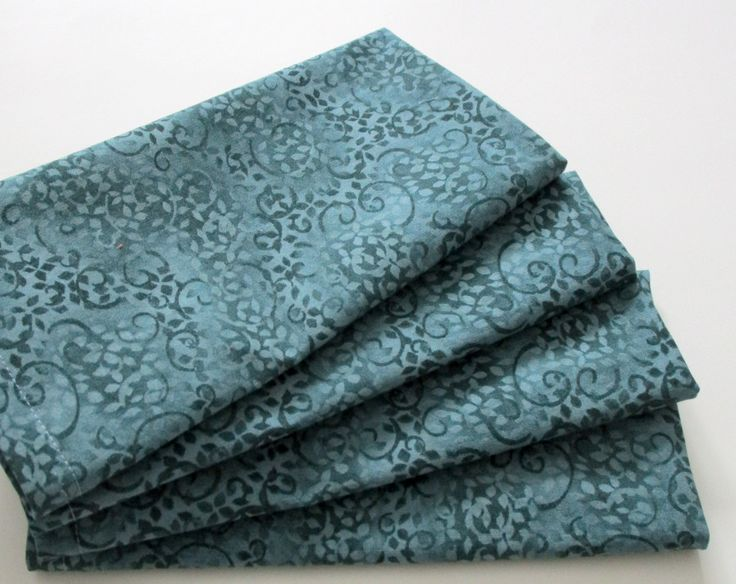 Large Cloth Napkins - Set of 4 - Teal Blue Leaves and Spirals - Dinner, Table, Everyday, Wedding by ClearSkyHome on Etsy