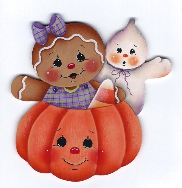 HP GINGERBREAD with Ghost and Pumpkin FRIDGE MAGNET - Handpainted by Pamela House