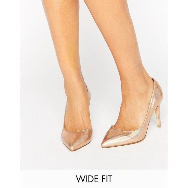 Faith Wide Fit Cliff Rose Gold Metallic Cut Out Court Shoes ($44) ❤ liked on Polyvore featuring shoes, pumps, gold, slip-on shoes, high heel pumps, metallic gold pumps, cut out pumps and metallic shoes