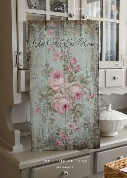 Just in time for the holidays! Hand painted on antique wood and full of shabby french chic charm. Available at http://www.debicoules.com/shabby-french-chic-la-vie-en-rose-painting-on-wood-by-debi-coules/