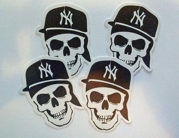 Lot of 4 new york yankee skull stickers crafts by francisroyal