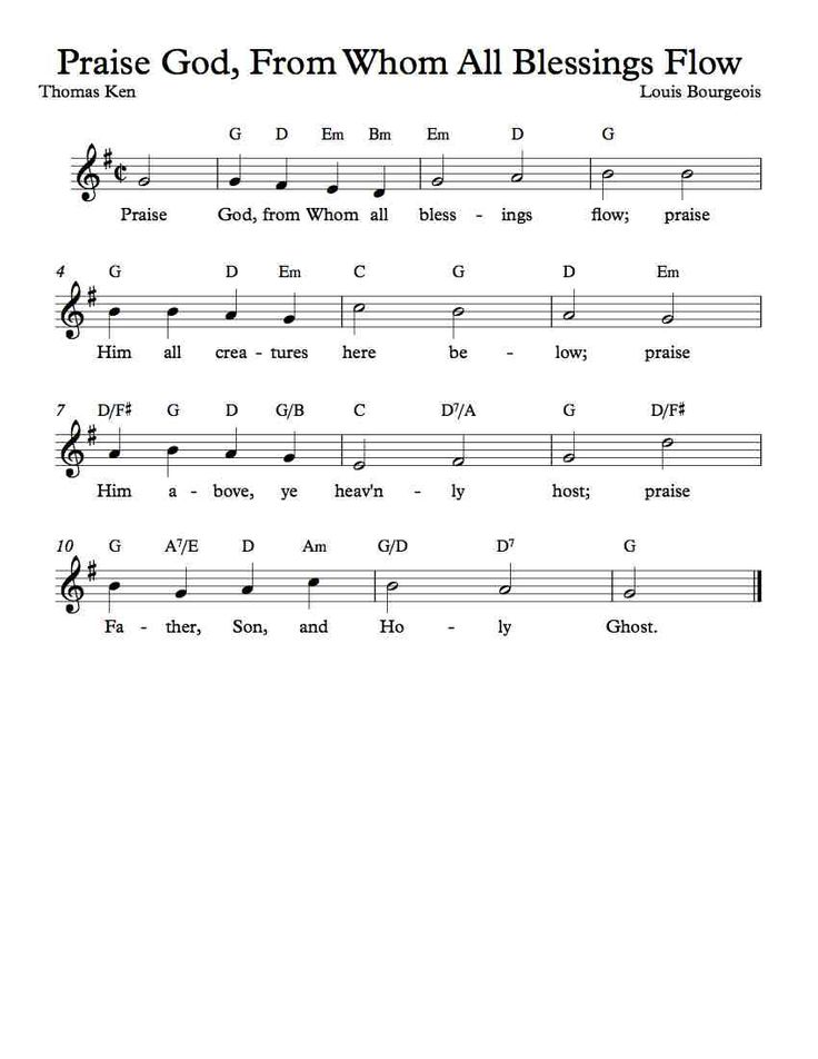 Free Sheet Music - Free Lead Sheet - Praise God, From Whom All Blessing Flow