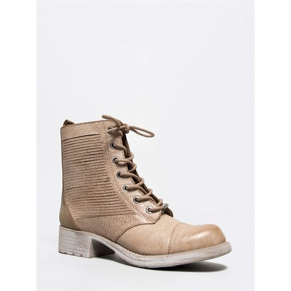 GATSON Boot ($66) ❤ liked on Polyvore featuring shoes, boots, ankle booties, beige, combat booties, combat boots, short heel boots, beige ankle boots and lace up booties
