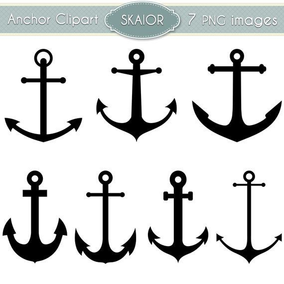Anchor Clipart Vector Anchor Clip Art Nautical Clipart Digital Scrapbooking Silhouette Clipart by skaior