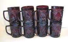 Set of 8 Vintage RUBY RED Luminarc Arcoroc GLASS COFFEE MUGS Lot France 40