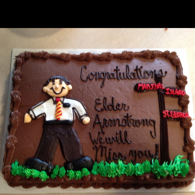 Missionary farewell cake from Costco.