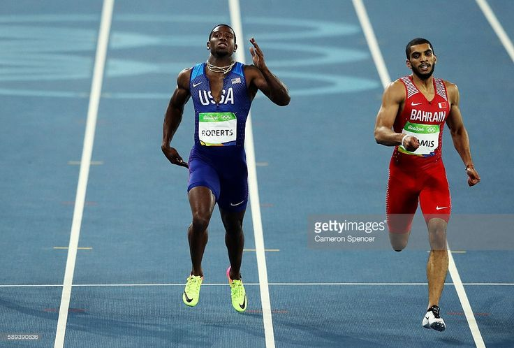 Gil Roberts of the United States and Ali Khamis Khamis of Bahrain during the Men's 400m Semi Final on Day 8 of the Rio 2016 Olympic Games at the Olympic Stadium on August 13, 2016 in Rio de Janeiro, Brazil.