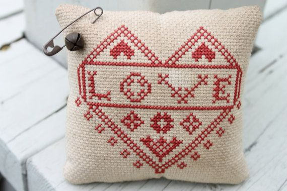 LOVE Redwork Cupboard Tuck Cross Stitch Ring by Stitchcrafts