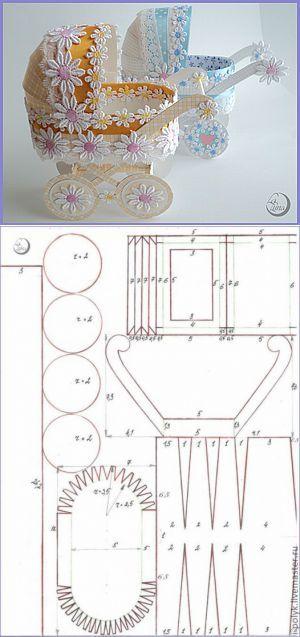 (+1) - Подробный мастер-класс по изготовлению детской коляски из картон� | бумажные работы | Постила