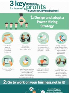 3 Key Strategies -Simple infographic reveals 25 separate profit-building ideas to implement in your recruitment business today.  www.royripper.com