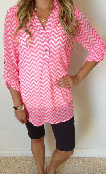 Chevron Borders Button Blouse