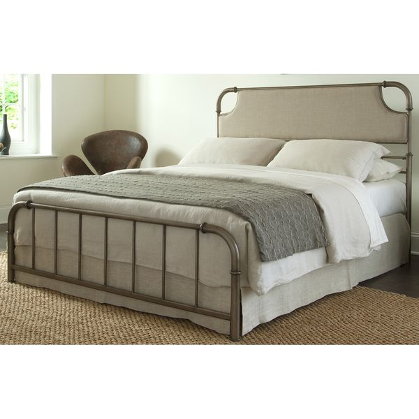Fashion Bed Group B4152 Dahlia Snap Bed with Upholstered Headboard and Folding Metal Side Rails, Aged Iron Finish