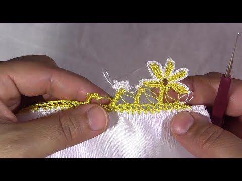 sarı çiçekli tığ oyası yapımı - YouTube