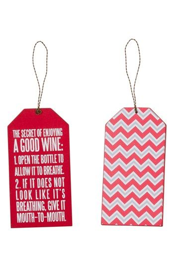 Primitives by Kathy 'Mouth-to-Mouth' Wine Tag Ornament available at #Nordstrom