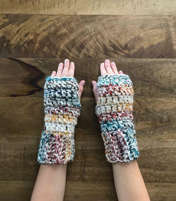 Guantes sin dedos crochet mitones sin dedos gruesos mitones