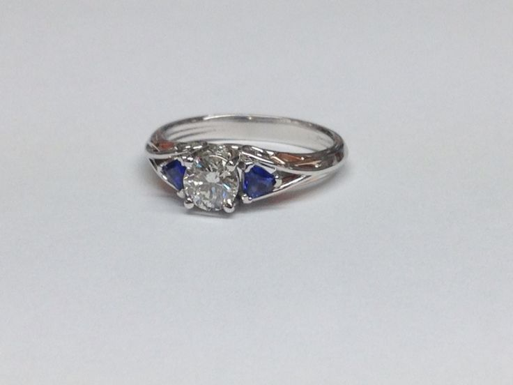 Diamond and Sapphire Engagement Ring.  www.abrahamsjewellery.com